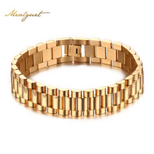 Meaeguet 15mm Luxury Men Watch Band Bracelet Gold-Color Stainless Steel Strap Links Cuff Bangles Jewelry Gift 22CM