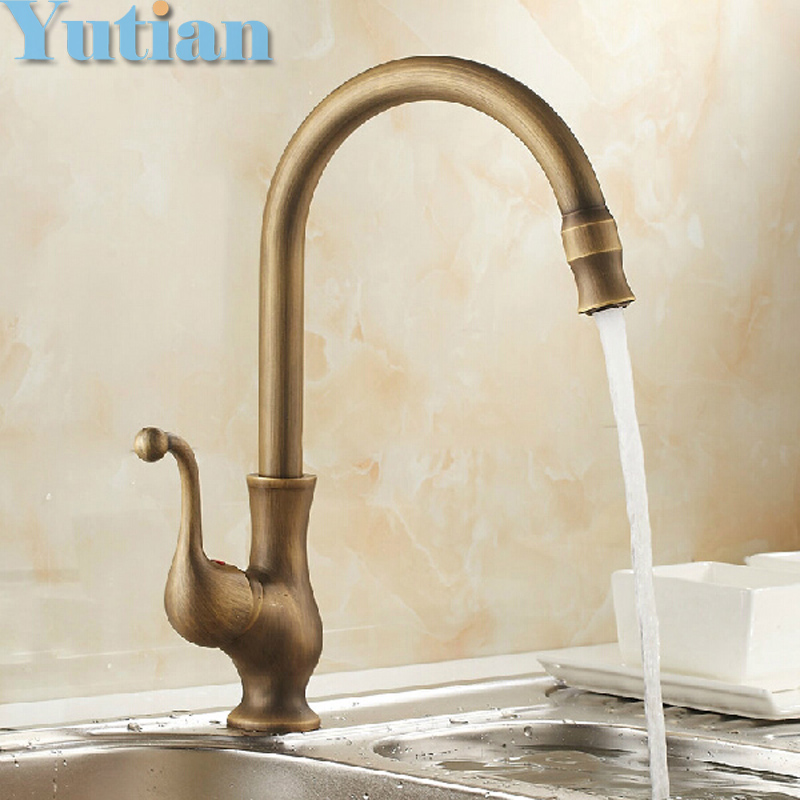 Free shipping Kitchen Faucet Antique Brass Swivel Bathroom Basin Sink Mixer Tap Crane,torneira YT-6034(China)