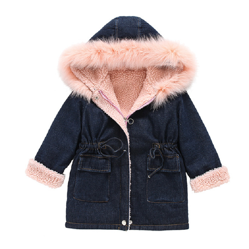 Boys Girls Denim Jacket Cotton Padded 2018 Winter New Childrens Clothing Hooded Denim Jacket Children Thick Denim Jacket 3-10T<br>