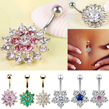 Women Rhinestone Flower Belly Button Navel Ring Bar Body Piercing Jewelry Charm