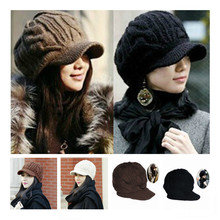 New Arrival Peaked Cap Women Hat Winter Caps Knitted Hats For Woman Lady's Headwear Cloth Accessory(China)