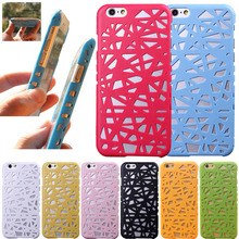 Hot 3D Building Hollow Bird Nest Rubberized Plastic Hard Phone Cases Cover For iPhone 5 5s SE 6 6s(China)