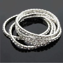 5pcs/lot Crystal Bracelets Promotion Fashion Chic Single Row Stretched Elastic Strand Bracelet For Women