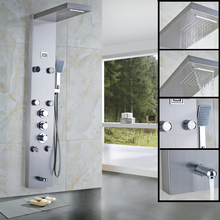 Fashionable Design Best Price Brushed Nickel Wall Mounted Shower Column Panel with Massage Jets(China)