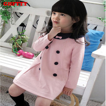 2017 New Autumn winter Kids Toddlers Girls dress Pearl Bow Cotton Long Sleeve Dress Girl Clothing Baby Girl Dress  Free Shipping
