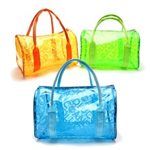 Makeup Cosmetic Bag Travel Beach Outdoor Jelly Candy Colors Clear Fashion New Transparent Handbag Tote Shoulder Bags For Women