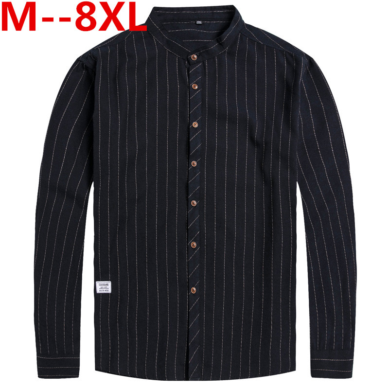 10XL 8XL 6XL 5XL 4XL Spring Mens Casual Shirts Cotton Linen Gray Color Brand Clothing Man's Long Sleeve Loose Clothes Male Tops