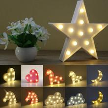 5 pattern 3D LED letter star/Cloud/moon/heart/unicorn Night Lamp White/warm/pink light For Christmas Decoration Kid\'s Gift