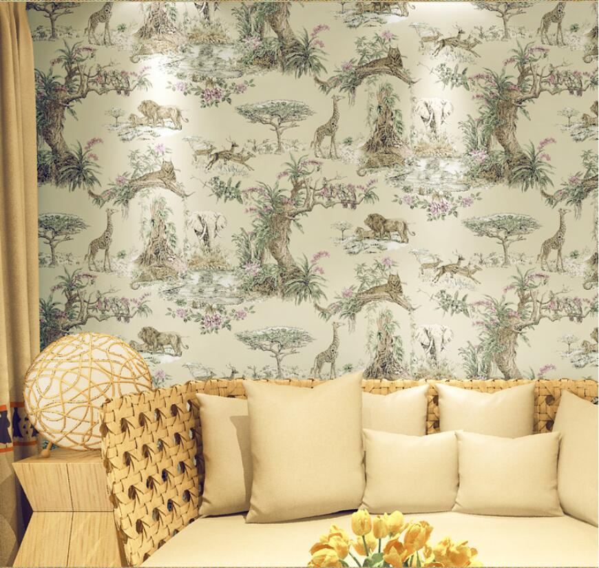 South asia style lion elephant and giraffe forest pattern wallpaper non woven bedroom wall covering paper<br>