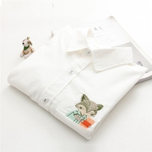 Spring Women Blouse Fox Pocket Embroidery Cotton Casual Long Sleeve Work Shirts office Tops White shirts for business Female