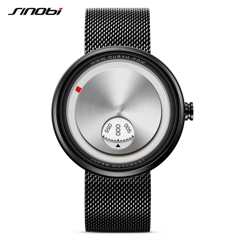 2017 New SINOBI Male Black Leisure Watch Top Brand Luxury Stainless Steel Mesh Belt Mens Quartz Watches Relogio Masculino #9743<br>