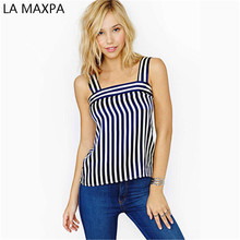 2017 hot wind restoring ancient ways is navy blue and white stripes short sleeveless chiffon vest small condole belt