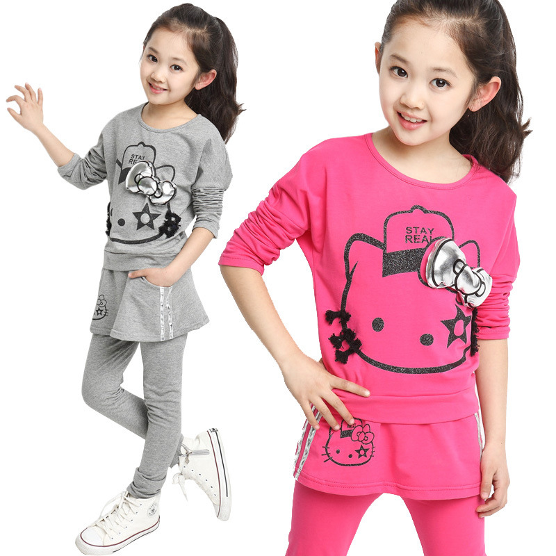 2015 Spring Girls Hello Kitty Clothing Sets, Cotton Kid Girls Long Sleeve T-Shirt and Dress Pants<br><br>Aliexpress