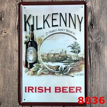 "Custom Neon Sign ""kilkenny Irish Beer""Vintage Metal Tin Signs Retro Tin Plate Sign Wall Decoration for Bar Shop and Restaurant"
