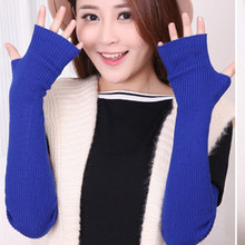 Winter Women's Wool Mitts50cm Superfine Wool Fingerless Gloves Long 2016 Thermal Gloves Semi finger Lengthen Raglan Arm Warmers(China)