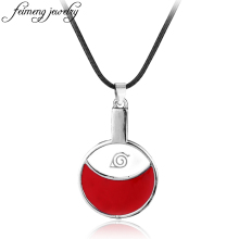Popular Anime Naruto Necklace Red Leaf Village Symbol Alloy Pendant Fashion Leather Rope Choker Necklace For Men And Women