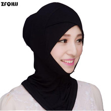 ZFQHJJ 2017 New Fashion Women Muslim Hijab Caps Solid Black White Stretch Modal Islamic Turban Head Cover Islam Wrap Hijab Caps(China)