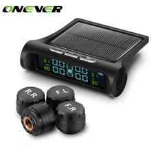 Onever Solar Power Wireless Car Tire Pressure Alarm Monitor System TPMS LCD Display 4 External Sensor Temperature Sensor Alarm(China)