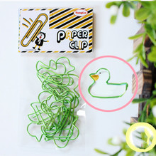 Metal colored bright color Beautiful Paper clips office binding stationery animal modeling duck/whale/rabbit/dog cute gift(China)