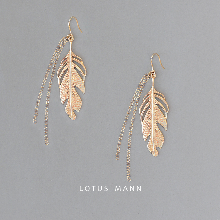 Lotus Mann Free wings feathers, 925 silver earrings swaying