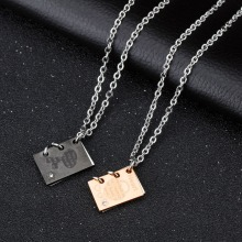 Titanium steel couples necklaces inlaid stone heart lock key creative love letter pendant A birthday present(China)