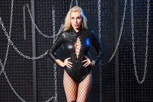 Buy Mesh Bodysuit Stage Wear Women Pole Dance Night Party Club Wear Erotic Lingerie Latex Catsuit Plus Size Sexy Costumes Black