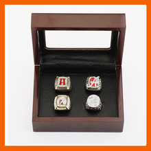 Gorgeous Ring sets with Wooden Boxes Replica Copper High Quality 4pcs/Packs University of Alabama Crimson Tide Championship Ring