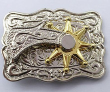 Retail Western High Quality Can Rotate The Gold Star Cowboy Belt Buckle With Metal Men Women belt Jewelry For 4cm Wideth Belt