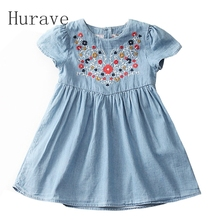 Hurave 2017 Girls european style embroidery dress floral kids jeans dress baby girl children vestidos hot sale kids clothings