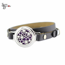 Stainless Steel Essential Oil Diffuser Leather Bracelet 25MM Daisy Flower Retro Fake Nails twist Aromatherapy Locket Bracelet(China)