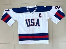 Vintage 1980 Miracle On Ice Team USA Mike Eruzione 21 Hockey Jersey All stitched White All stitched