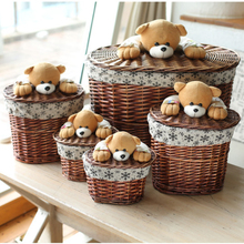 Small & Large Rattan bear laundry bucket willow storage basket clothing storage box decorative knitted wicker baskets with lids(China)