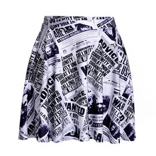 Women Newspaper Print Mini Skirts Ball Gown Buttons Design Summer Casual Streetwear Plus Size Skirts()