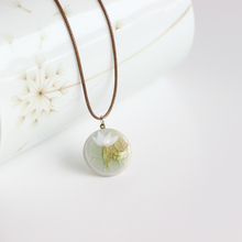 BIGBING Fashion jewelry fashion handmade Green ceramic Lotus flower pendant necklace wholesale jewelry free shipping C274