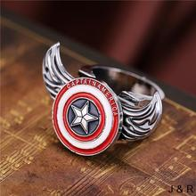 J Store Movie Captain America Symbol Rings for women Angel Wings Rotatable Punk Ring Fashion men Jewelry Accessories