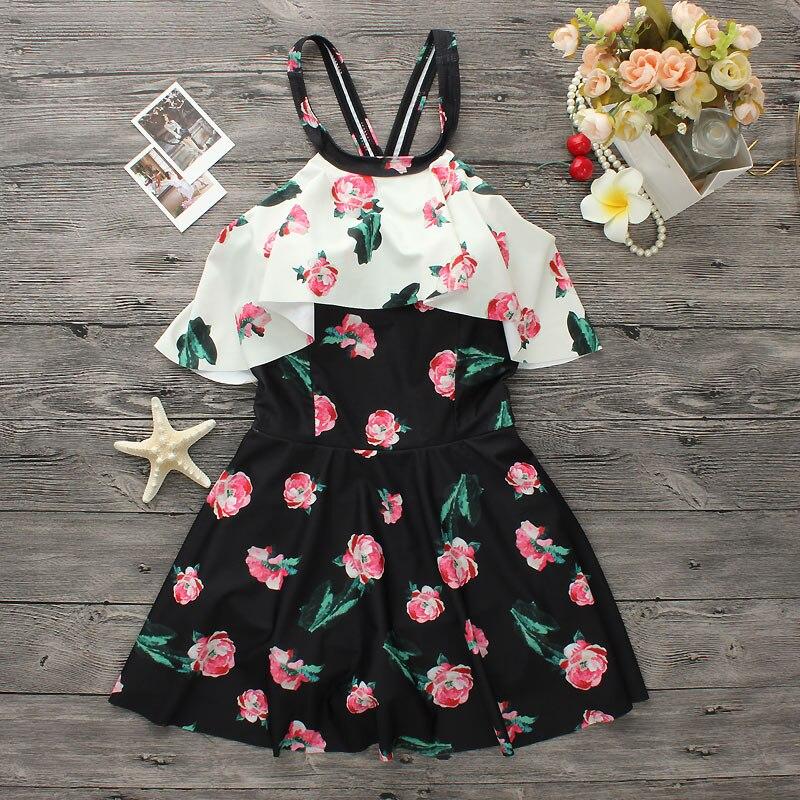 High Quality Sexy Swimwear Plus size 2017 One Piece Swim Suit Women Swimsuit Monokini Flower Print Beach Wear Dress<br>
