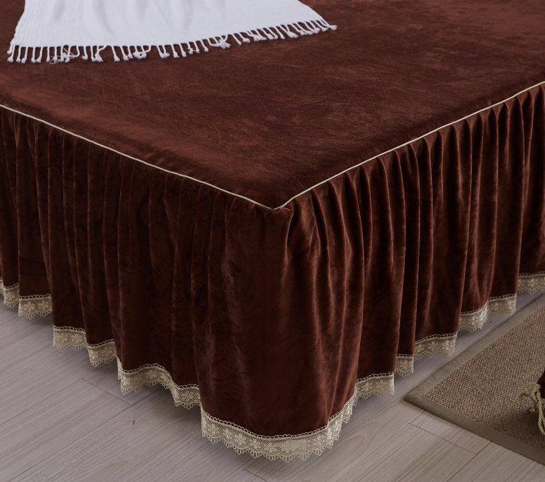 3Pcs Fleece Bed Skirt Set W/ Pillowcases, Mattress Protective Cover 38