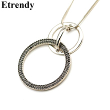 Buy Rhinestone Double Round Circles Necklace Women Bijoux Long Chain Necklaces & Pendants New Fashion Jewelry Christmas Gifts for $3.88 in AliExpress store