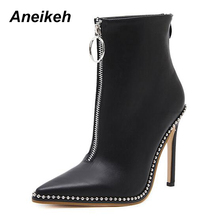 Aneikeh Elegant Brand Design Ankle Boots Pointed Toe High Heels Shoes Women 2017 Fashion Rivets Diamond Wedding Autumn Boots(China)
