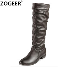 ZOGEER Plus Size 34-43 Hot 2017 Spring Autumn Women Boots Fashion Casual Low Heels Knee High Boots Sexy Ladies's Shoes(China)