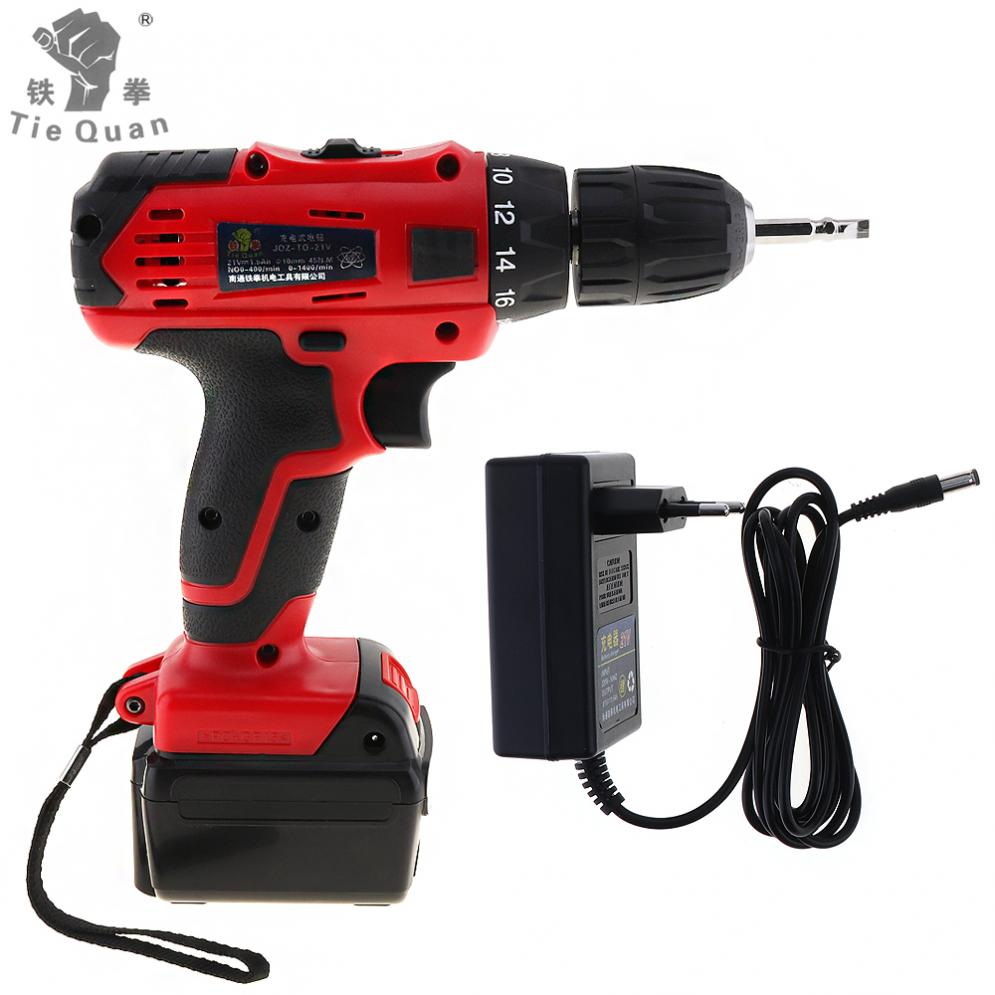 AC 110 - 220V Cordless 21V Electric Drill / Screwdriver with Lithium Battery Adjustment Switch and Two-speed Adjustment Button<br>