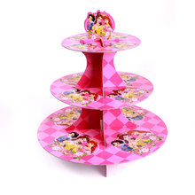 Princess Birthday Cupcake Stand Girls Cartoon Cupcake Holder 3 Layer Plate Party Decoration Theme Party Supplies  TE-153