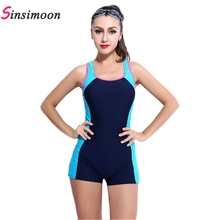 Sexy boxer shorts one piece bathing suit Athletic Swimwear competition swimsuit Straight angle shorts,professional swim suit(China)
