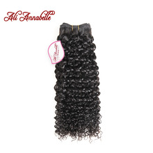 "ALI ANNABELLE HAIR Malaysian Kinky Curly Hair Weave Bundles 100% Remy Human Hair Extensions 10""-28""inch Natural Color(China)"