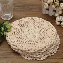 Dozen Cotton Mat Hand Crocheted Lace Doilies 12Pcs Flower Shape Coasters Cup Mug Pads Home Coffee Shop Table Decoration Crafts