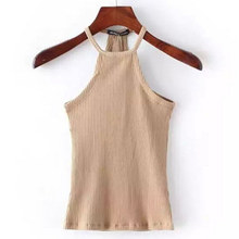 Summer Knitted Bustier Top Women O Neck Elastic Tube Shirts Knit Beach Sexy Tops 6 Color Halter Sleeveless Women Clothing 803822