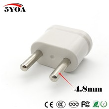 2pcs US USA to EU EURO Europe Travel Power Plug Adapter Charger Converter for USA converter White