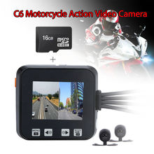 "SYS C6 2.0"" Motorcycle Action Video Camera DVR Waterproof Lens Front & Back Build-in Microphone Dual Cameras GPS Car Dash Cam(China)"
