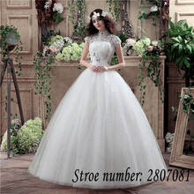 New 2017 Summer Real Photo High Collar Wedding Dresses Cheap White Lace Sequins Bride Gowns Custom Made Vestidos De Novia XXN117