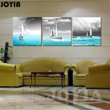 Blue Seascape Art Decor Paintings Canvas Prints Ships Sail On Sea Grey Sky Wall Pictures For Room Decor 3 Piece/Set No Frame